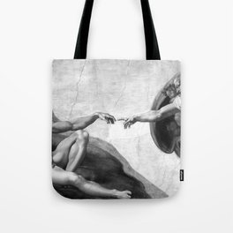 Black and White Creation of Adam Painting by Michelangelo Sistine Chapel Tote Bag