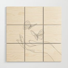 Butterflies on the Palm of the Hand Wood Wall Art