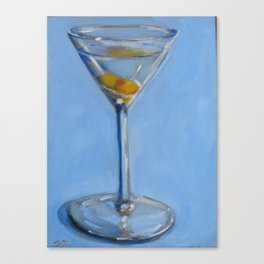 Martini with olive Canvas Print