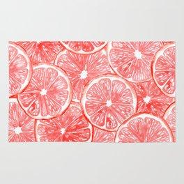 Watercolor grapefruit slices pattern Rug