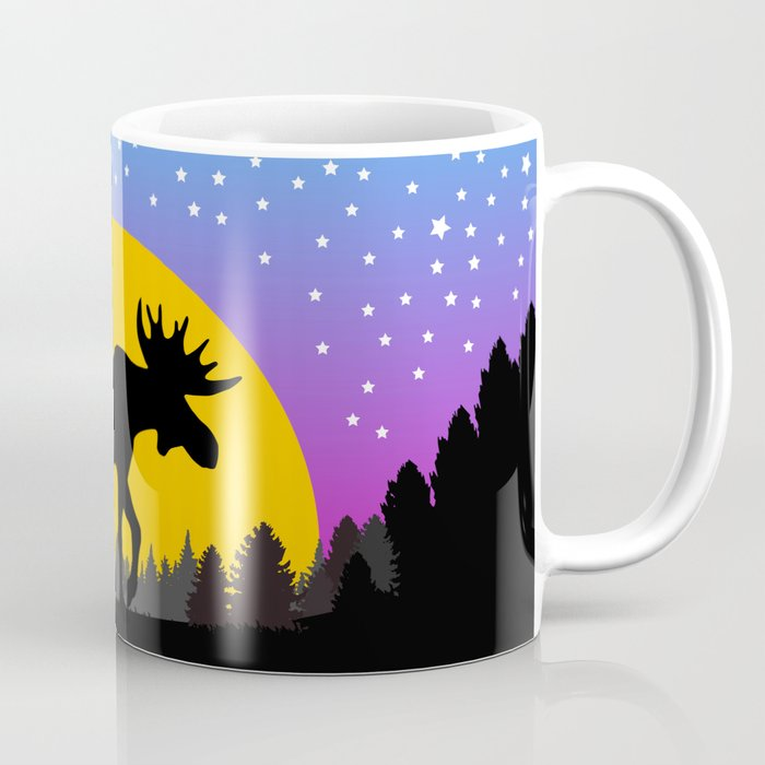 Moose Moon Light Pink and Light Blue Coffee Mug