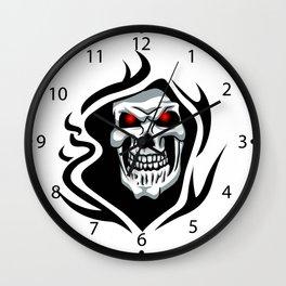Skull tribal tattoo Wall Clock