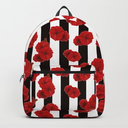 Red poppies on a black and white striped background. Backpack
