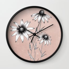 Wildflowers Ink Drawing | Dusty Pink Wall Clock