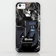 Broken, rupture, damaged, cracked black apple iPhone 4 5 5s 5c, ipad, pillow case and tshirt iPhone 5c Slim Case