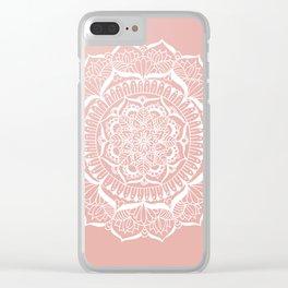 White Flower Mandala on Rose Gold Clear iPhone Case