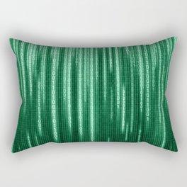 Green Binary Rain Rectangular Pillow
