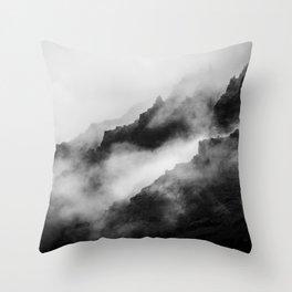 Foggy Mountains Black and White Throw Pillow