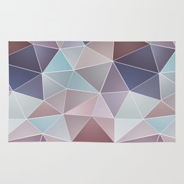 Abstract geometric polygon in gray, blue, brown tones. Rug