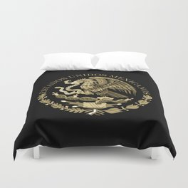 Mexican flag seal in sepia tones on black bg Duvet Cover