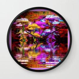 PURPLE-WHITE IRIS  WATER GARDEN  REFLECTION Wall Clock