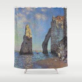 Claude Monet's The Cliffs at Etretat Shower Curtain
