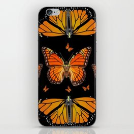 ABSTRACT ORANGE MONARCH BUTTERFLIES BLACK  PATTERNS iPhone Skin