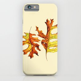 Ink And Watercolor Painted Dancing Autumn Leaves iPhone Case