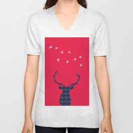 cerf bleu et rouge Unisex V-Neck