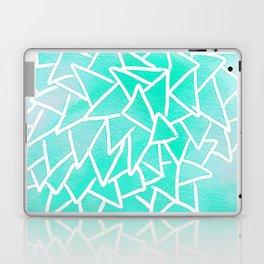 Blue turquoise watercolor geometric triangles Laptop & iPad Skin