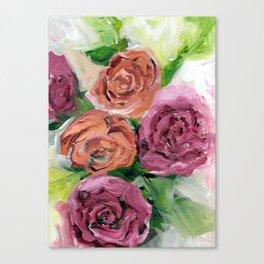 Peachy Keen Spring Floral Bouquet Canvas Print