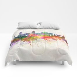 Mexico City V2 skyline in watercolor background Comforters