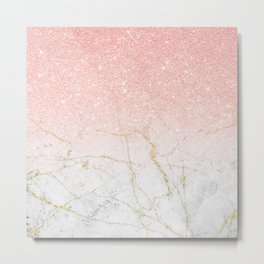 Rose Gold Glitter and gold white Marble Metal Print