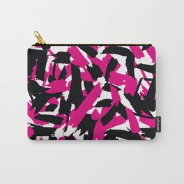 Vibrant Pink Black Brushstroke Pattern Carry-All Pouch