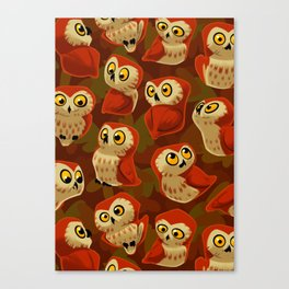 Northern Saw-whet owls pattern. Canvas Print