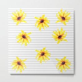 Yellow Daises on Minimal Black and White Stripes Metal Print