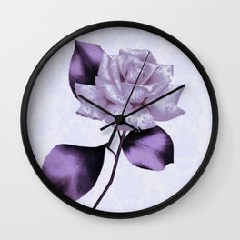 purple satiny rose on soft blue background Wall Clock