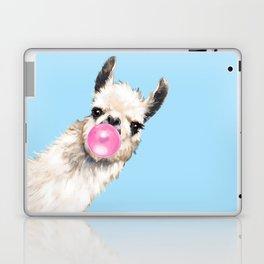 Bubble Gum Sneaky Llama in Blue Laptop & iPad Skin