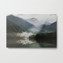 Dreamlike Morning at the Lake - Nature Forest Mountain Photography Metal Print