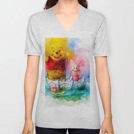 Winnie and Piglet Art Unisex V-Neck