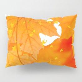 Fall Orange Maple Leaves On A White Background #decor #buyart #society6 Pillow Sham