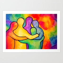 Happy Hippy Huggle Art Print