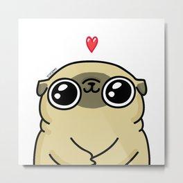 Mochi the pug loves you Metal Print