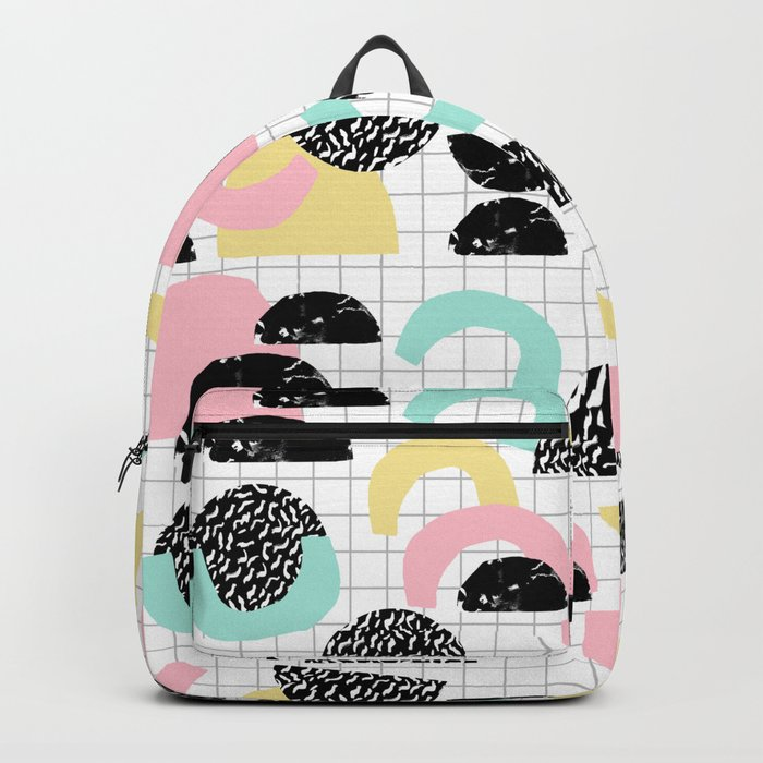 Pretty Much - abstract minimal memphis 80s style retro throwback grid pattern design Backpack