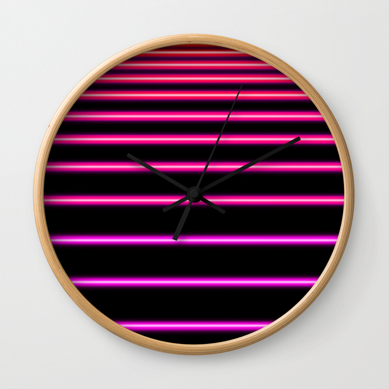 Pink To Red Neon Wall Clock By
