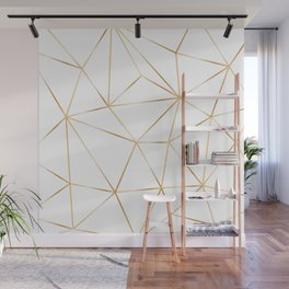 gold polygon on white Wall Mural