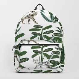 Cats and tropical plants in the jungle Backpack