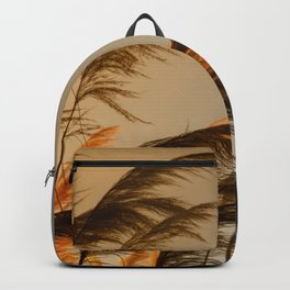 Sunset in autumn. Pampa grass Backpack