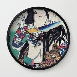 Kunichika Tattooed Warrior with Sayagata Pattern Background Wall Clock