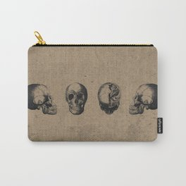 Skull View - Antique Vintage Style Medical Etching Carry-All Pouch