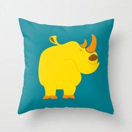 Happy rhino Throw Pillow