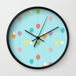 Fluffy bunnies and the rainbow balloons pattern Wall Clock