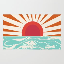 Keepin' It Real - retro 70s vibes throwback ocean sunset sunrise socal surfing beach life 1970's Rug