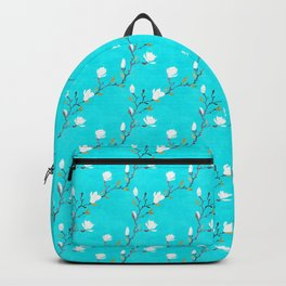 White magnolia with turquoise background Backpack