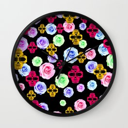 skull portrait in pink and yellow with colorful rose and black background Wall Clock