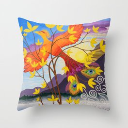 Phoenix Rising to New Life Throw Pillow