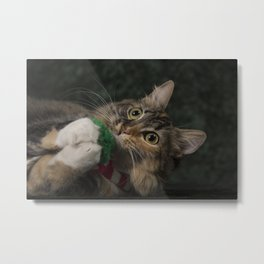 Arbor plays with her scarf! Metal Print