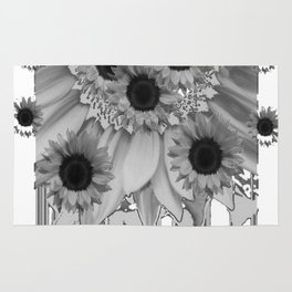 MODERN ABSTRACT BLACK & WHITE FLOWERS GARDEN  ART Rug