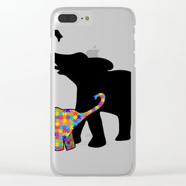 Elephant Autism Awareness Support Clear iPhone Case