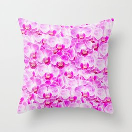 Pink Pattern Orchids Galore Throw Pillow